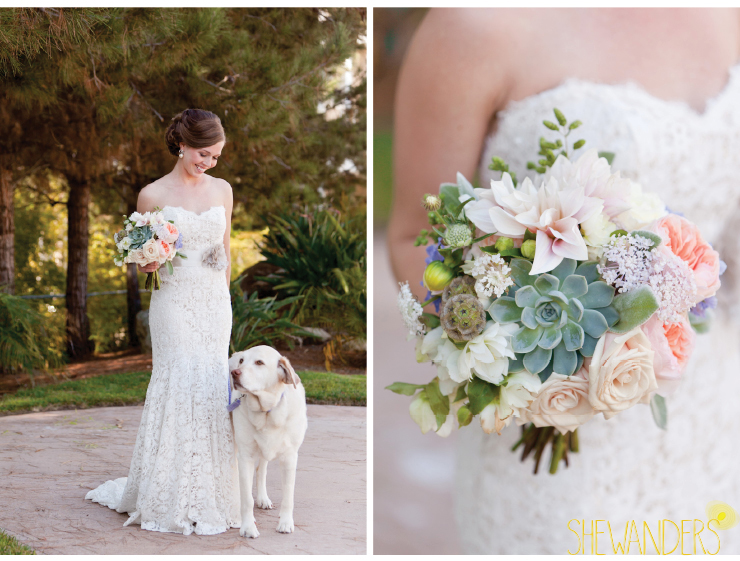 bride and succulent bouquet, bride and dog, coronado wedding photographer, san diego vintage wedding photography, shewanders photography