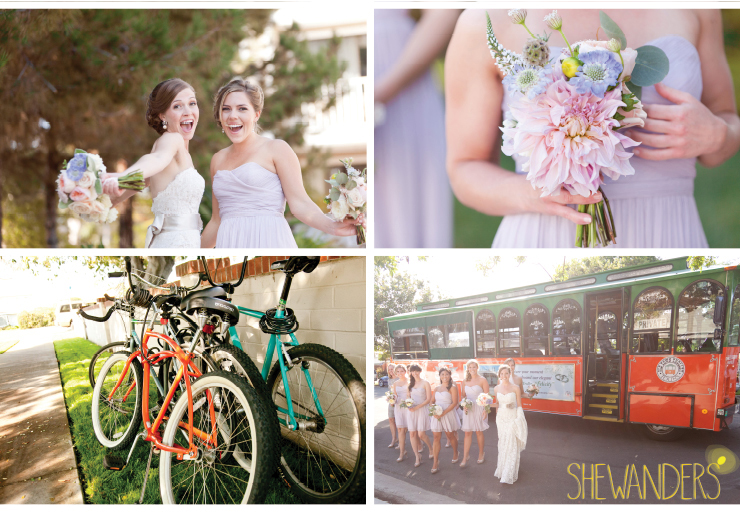 bride and bridesmaid, bicycles, bridesmaids, coronado wedding photographer, san diego vintage wedding photography, shewanders photography