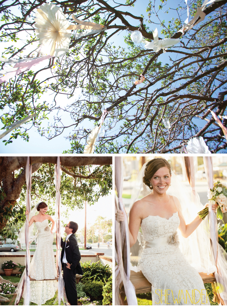 pinwheels, bride and ring bearer, bride on swing, coronado wedding photographer, san diego vintage wedding photography, shewanders photography