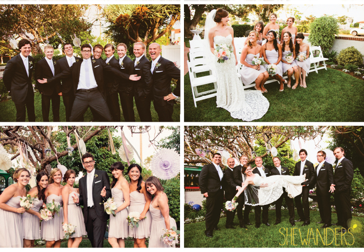 groomsmen, wedding party, bridal party and bride, bride and groomsmen, coronado wedding photographer, san diego vintage wedding photography, shewanders photography