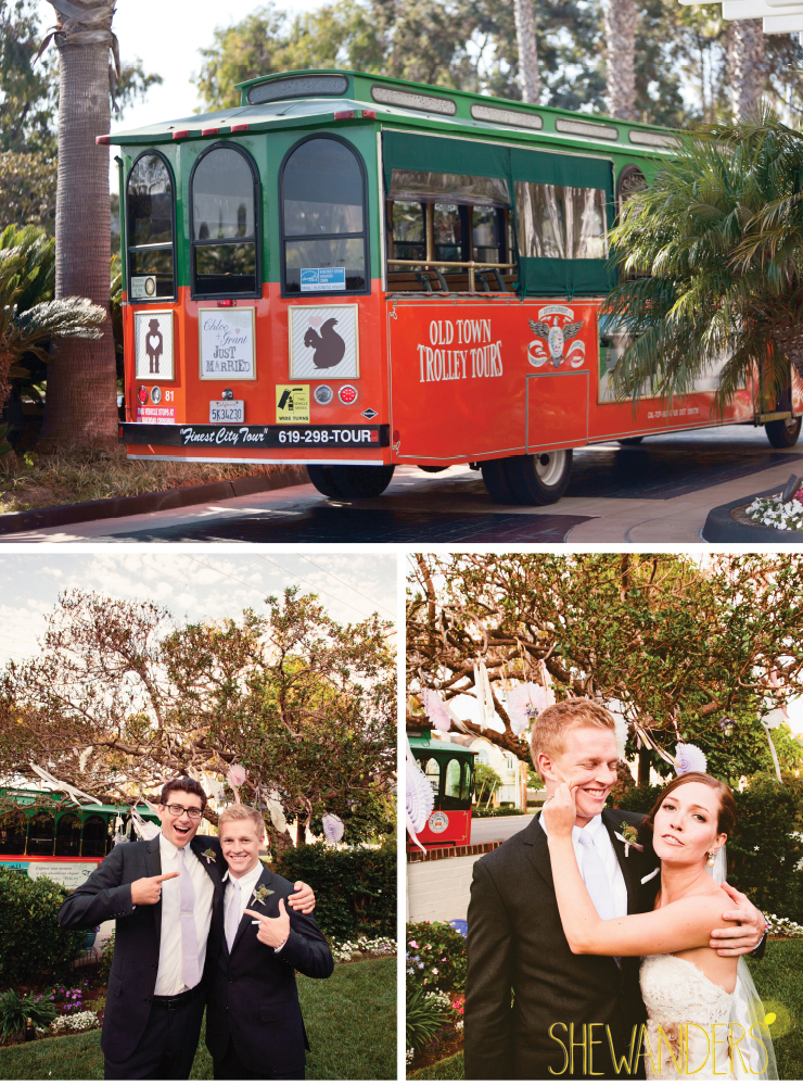 cable car, bride and groomsmen, coronado wedding photographer, san diego vintage wedding photography, shewanders photography