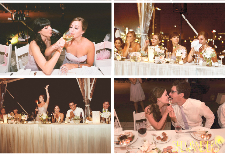 wedding reception, wedding party table, bride and groom, bride and bridesmaids, coronado wedding photographer, san diego vintage wedding photography, shewanders photography
