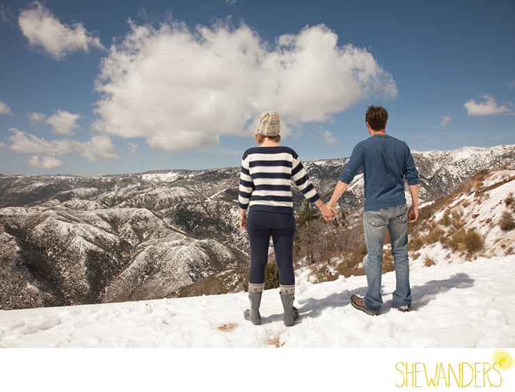 shewanders photography, Big Bear, mountain, snow, couple holding hands