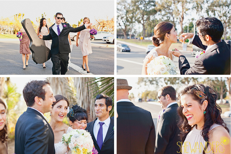 shewanders photography, balboa park, san diego, bride and groom, wedding party, playful