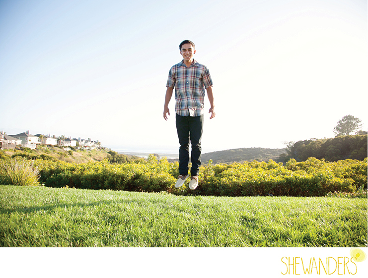 shewanders photography, cardiff by the sea, senior portraits, young male, jumping, playful