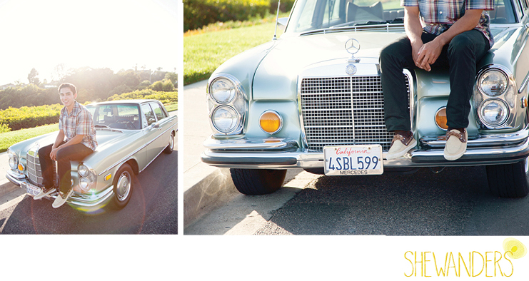 shewanders photography, cardiff by the sea, senior portraits, young male, vintage mercedes, natural lighting