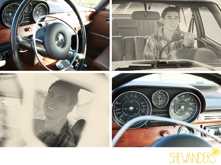 shewanders photography, cardiff by the sea, senior portraits, young male, vintage mercedes, sepia, dashboard