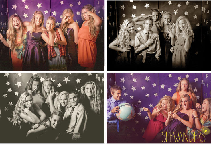 shewanders photography, Smilebooth photography, photo booth, black and white, colorful, sepia