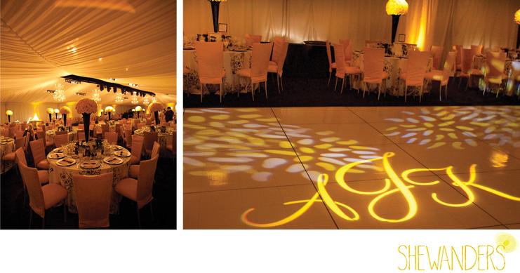 shewanders photography, mood lighting, yellow lighting, tent wedding