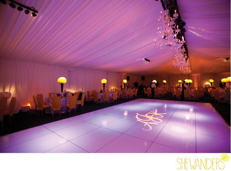 shewanders photography, mood lighting, purple lighting, tent wedding