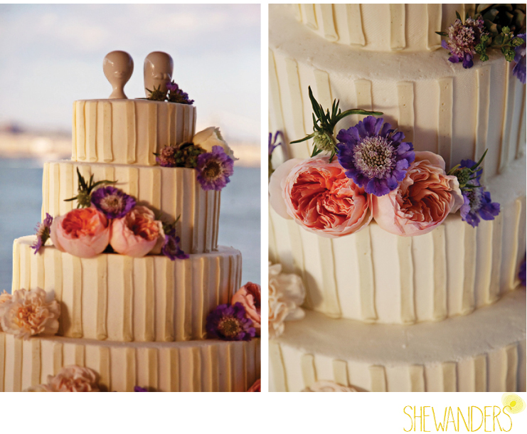 shewanders photography, cake, flowers, beach, bayfront, layer cake