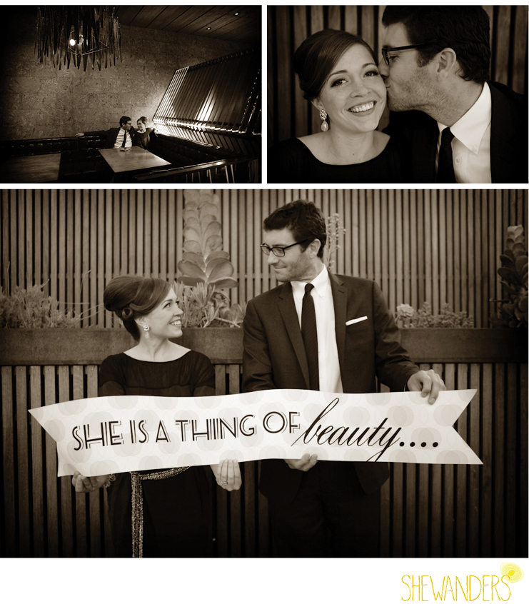 shewanders photography, mad men, engagement, sepia photography, cute sign, couple, falling in love