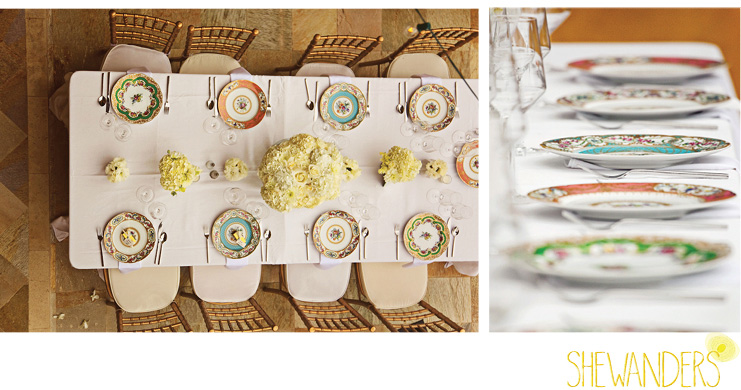 shewanders photography, wedding, place setting, colored plates