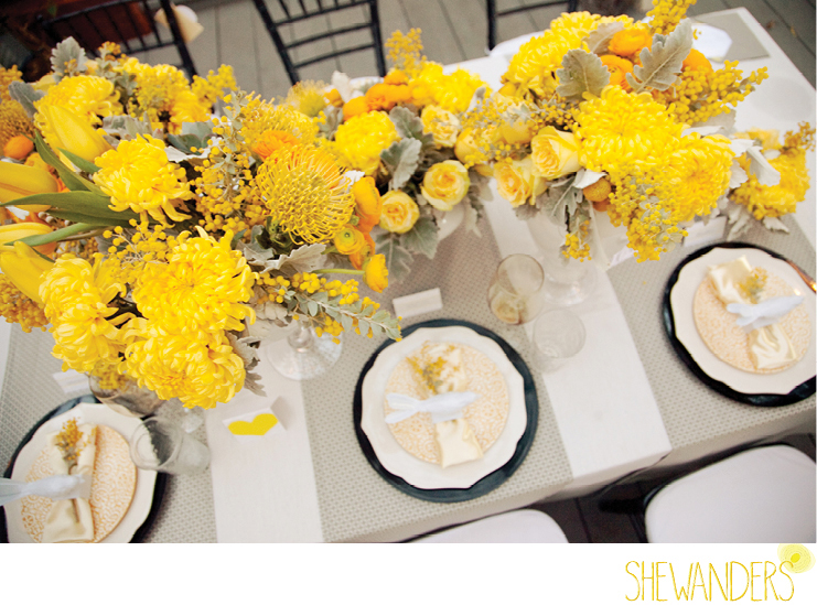 shewanders photography, wedding, place setting, golden, yellow flowers, bird