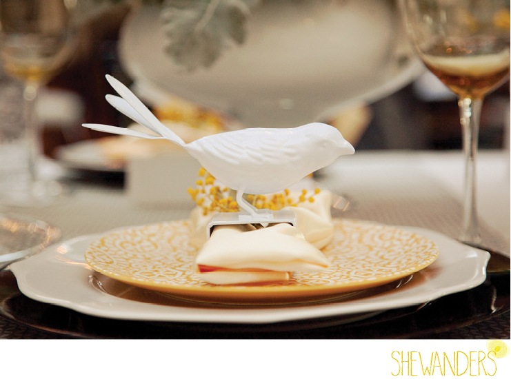 shewanders photography, wedding, place setting, bird,