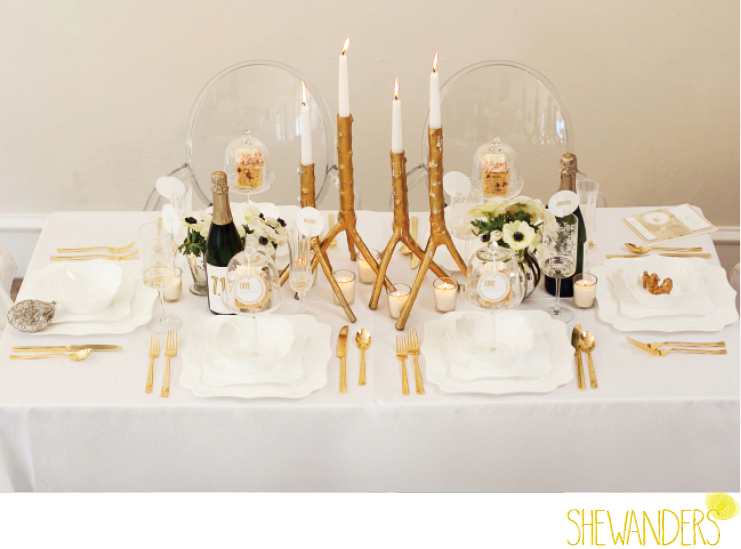 shewanders photography, wedding, place setting, elegant, table setting, golden, candles