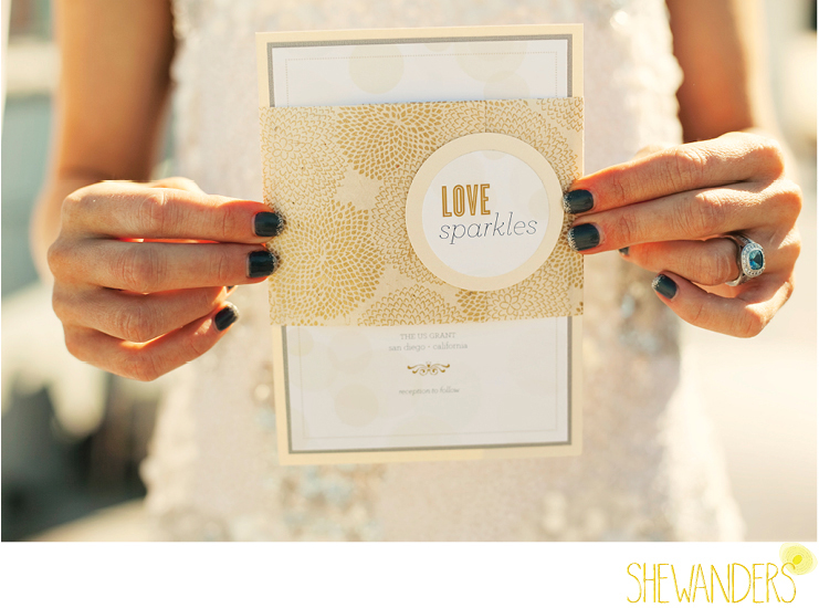 shewanders photography, she the date, wedding invitation, golden paper, printed wedding product