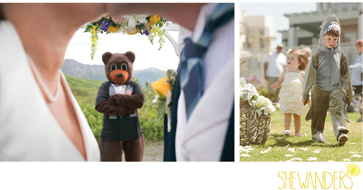 shewanders photography, funny, wedding, costumes, shark, bear