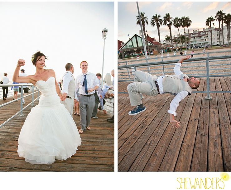 shewanders photography, wedding, groom, bride, funny, beach, backflip, fist pump