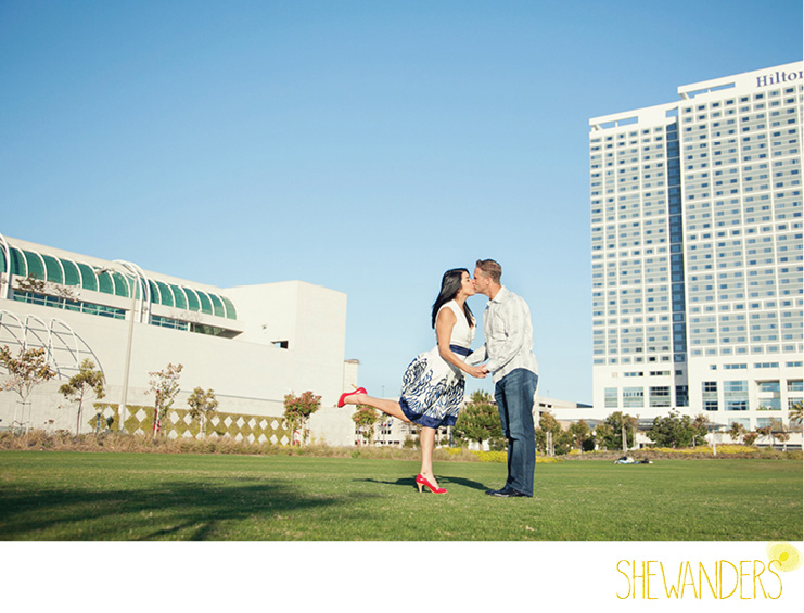 shewanders photography, san diego engagement photography, sassy red shoes