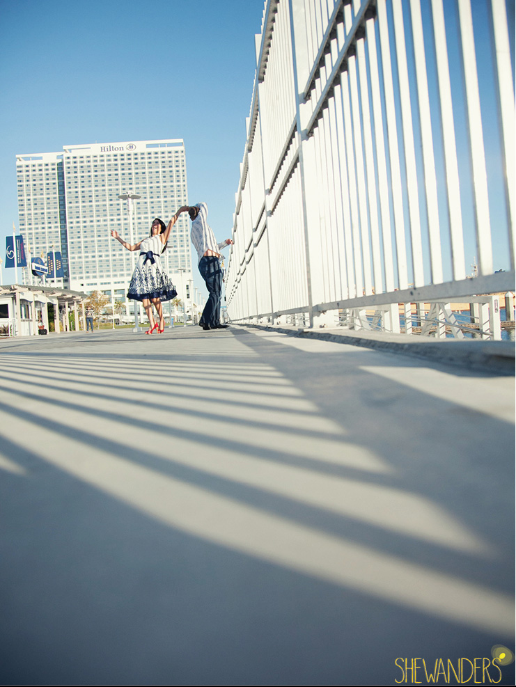 shewanders photography, san diego engagement photography, dancing on the bridge