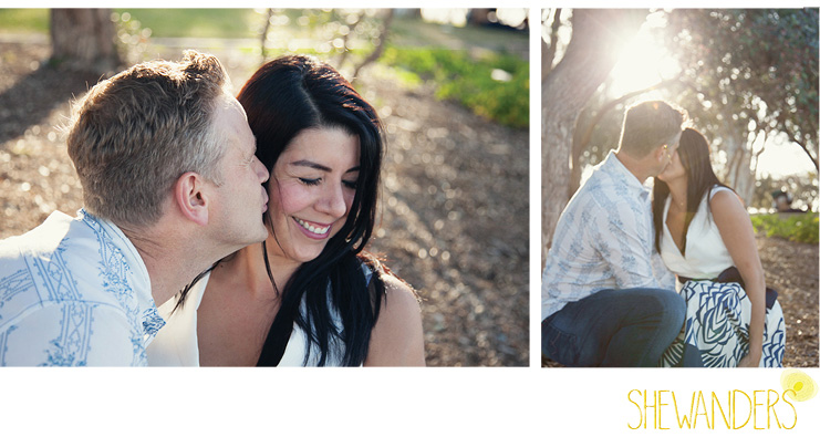 shewanders photography, san diego engagement photography, cheek kissing