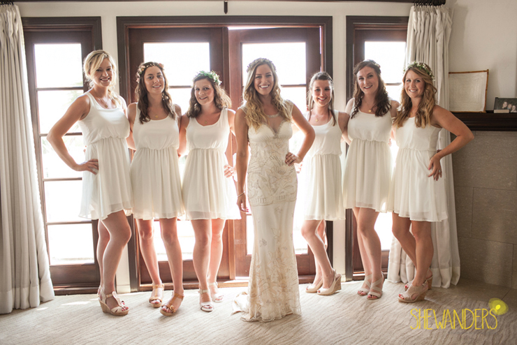 beautiful bridal party white dresses, coronado bride, shewanders wedding photography