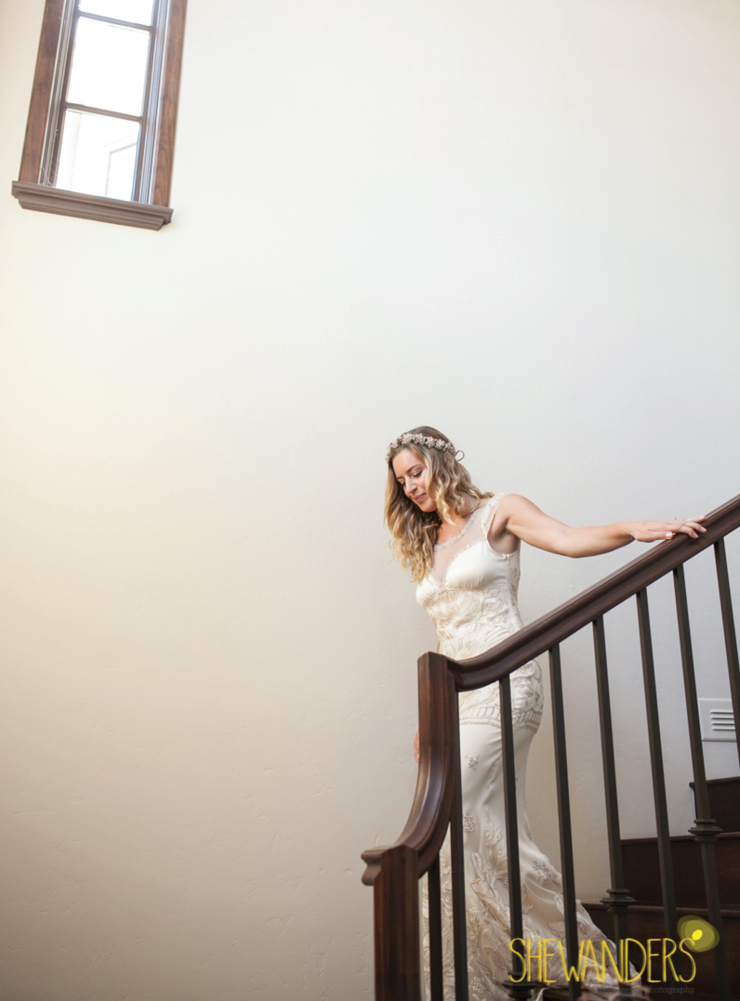 bride walking down stairs, coronado bride, shewanders wedding photography