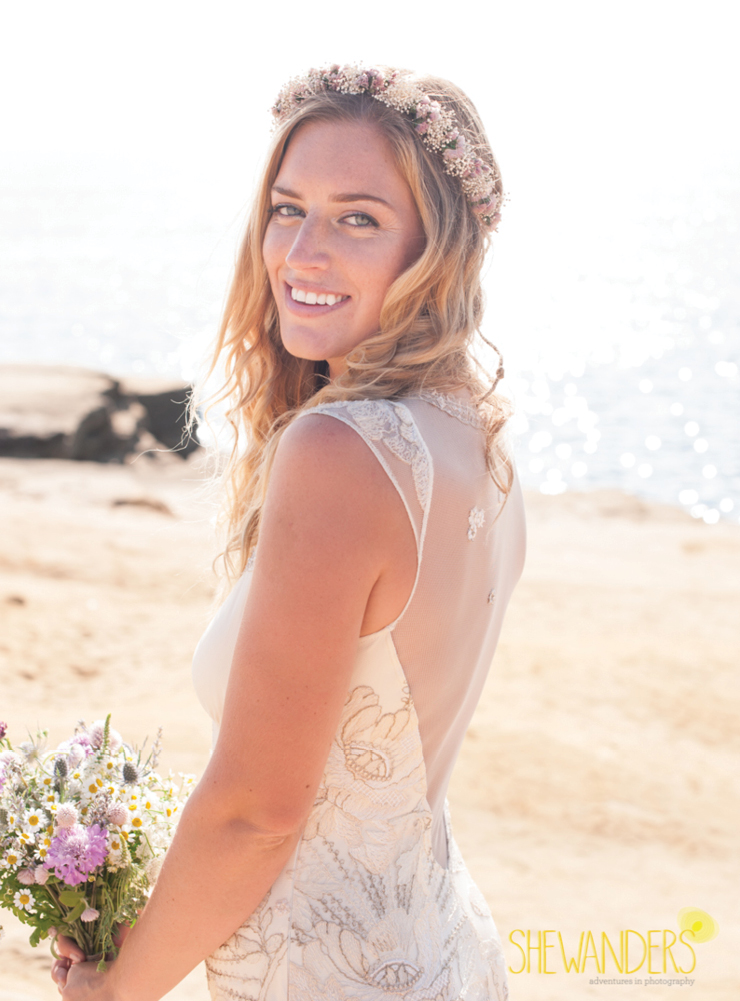 beautiful ocean beach bride