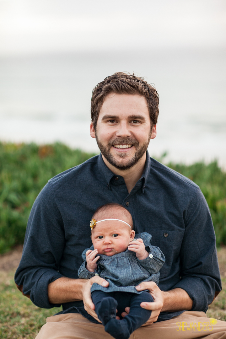 SheWanders Photography, father, man, baby, outdoors, nice, blue, collared shirt