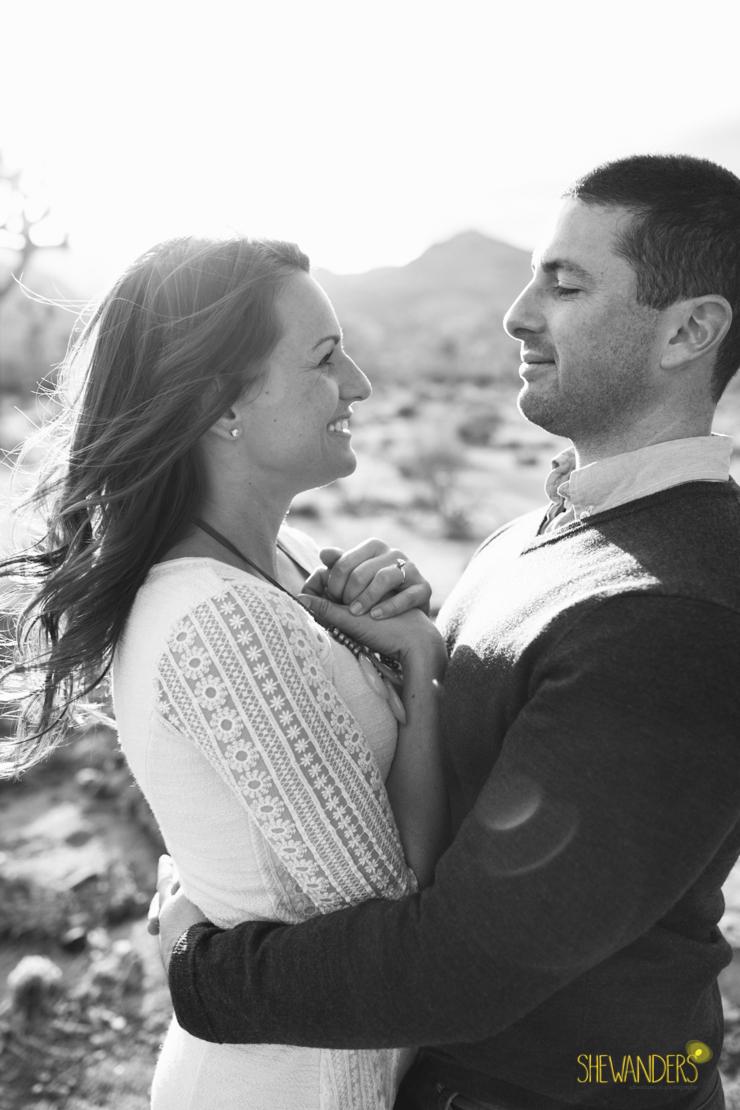 SheWanders Photography, engagement shoot, black and white, couple, beautiful, joshua tree