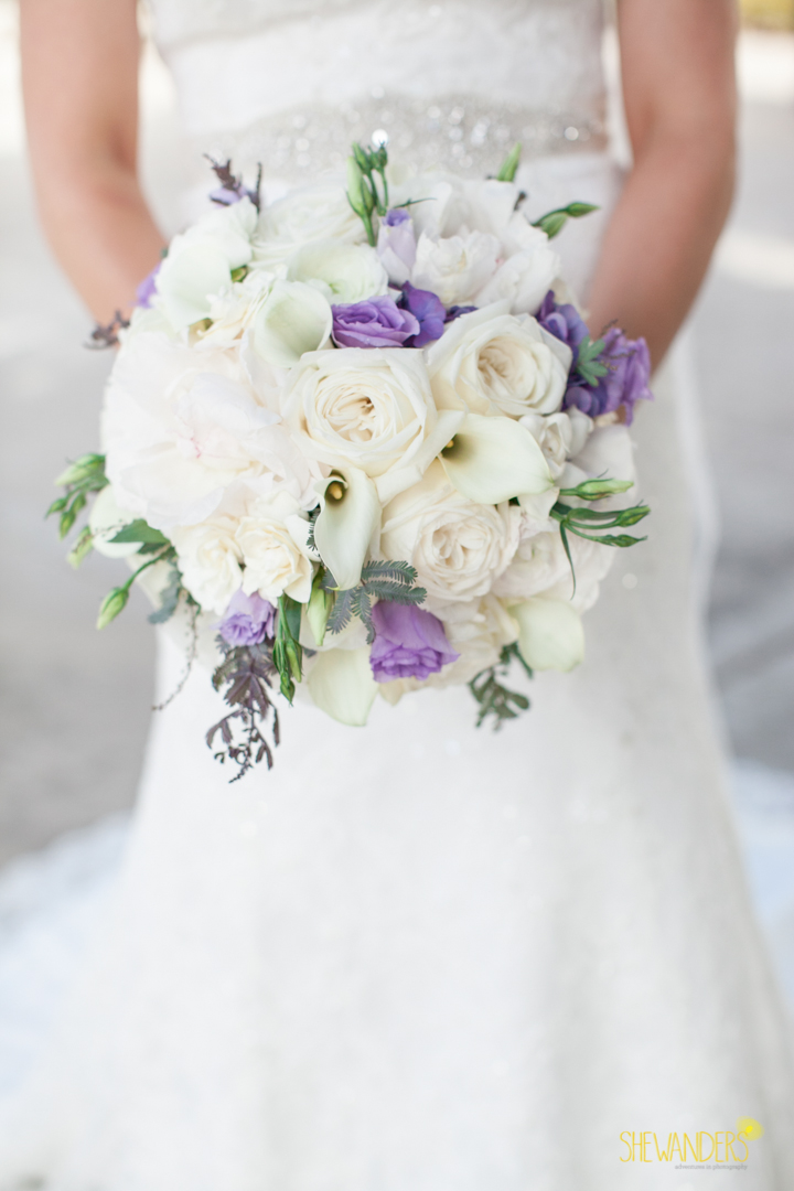 shewanders photography, wedding photography, portrait photography, portraits, groom, bride, black and white, purple and white bouquet, flowers, floral arrangement, bridal gown