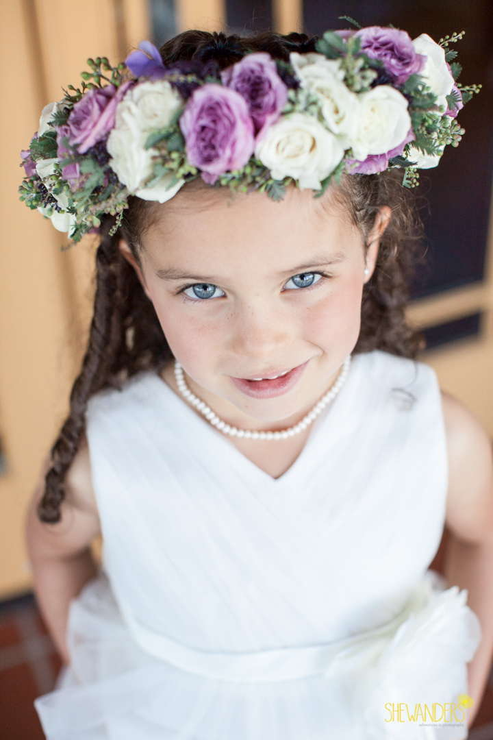 shewanders photography, wedding photography, portrait photography, portraits, groom, bride, black and white, flower girl, purple and white flower crown, floral crown