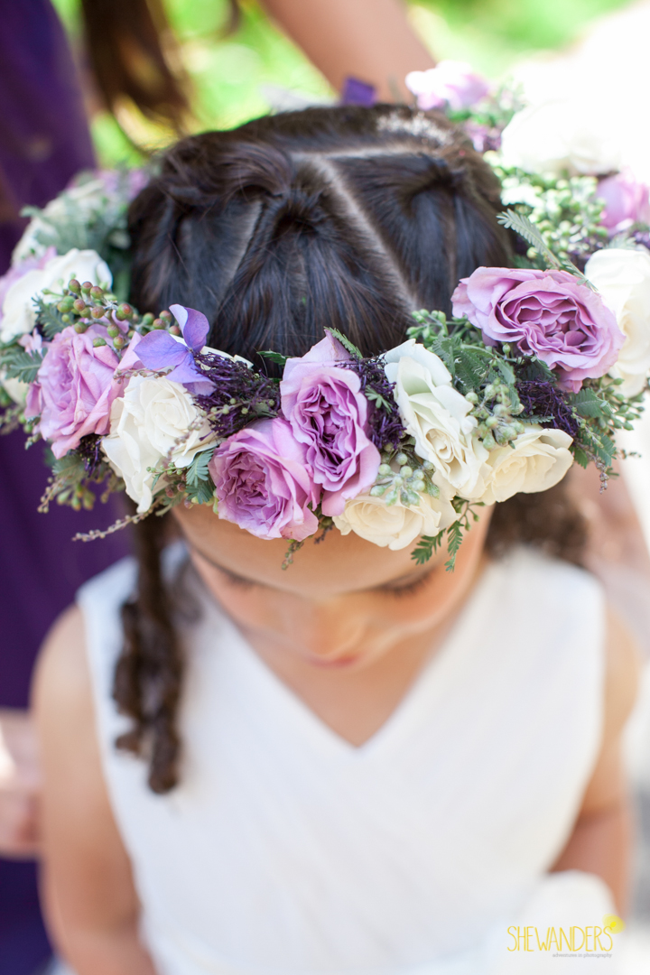 shewanders photography, wedding photography, portrait photography, portraits, groom, bride, black and white, flower girl, purple and white flowers, floral crown,