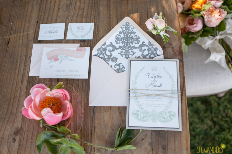 Invitations, table, organized, beautiful, la jolla wedding photography, shewanders wedding photography, luxe events, blush botanicals, brightly designed, la jolla beach and tennis club, exquisite weddings.