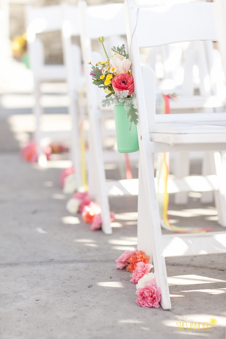 bright pops of color ceremony florals, del mar wedding photography, shewanders wedding photography, root 75, luxe events, miho gastropub,