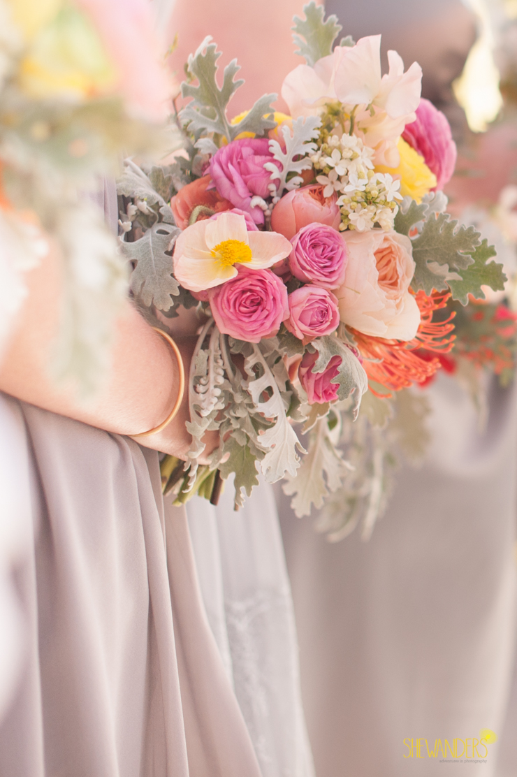 bouquet, grey bridesmaids dress, del mar wedding photography, shewanders wedding photography, root 75, luxe events, miho gastropub,