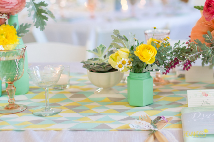 yellow, mint, floral, centerpiece, detail,del mar wedding photography, shewanders wedding photography, root 75, luxe events, miho gastropub,