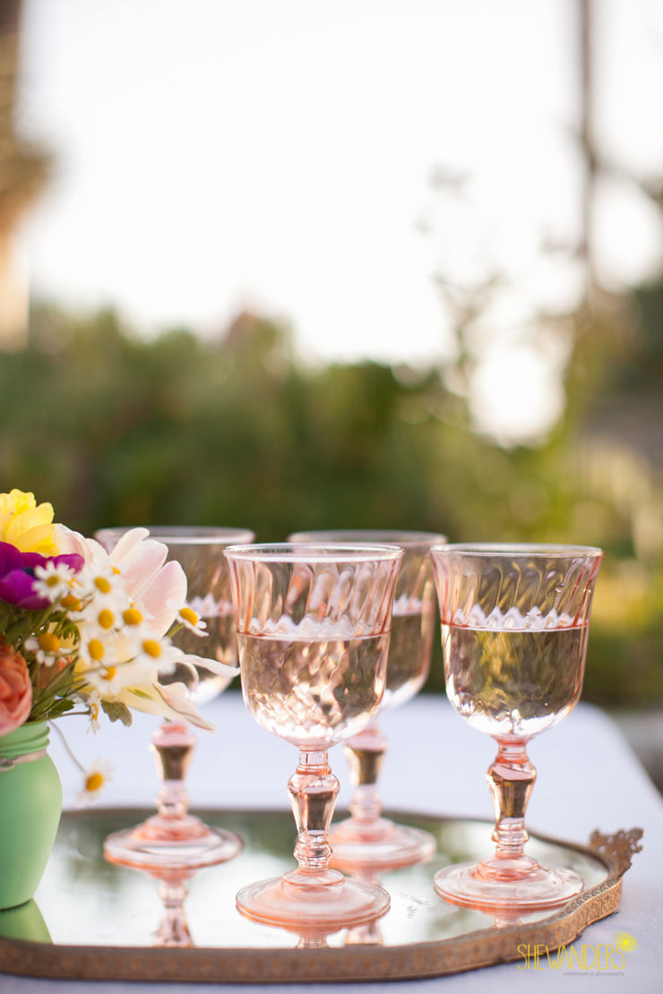 pink glass, glasses,del mar wedding photography, shewanders wedding photography, root 75, luxe events, miho gastropub,