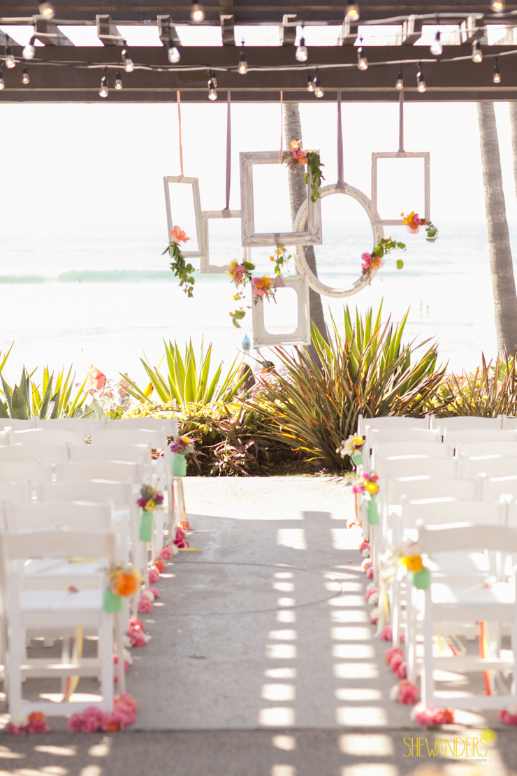 wedding ceremony, frames, design, asile, chairs, floral,del mar wedding photography, shewanders wedding photography, root 75, luxe events, miho gastropub,