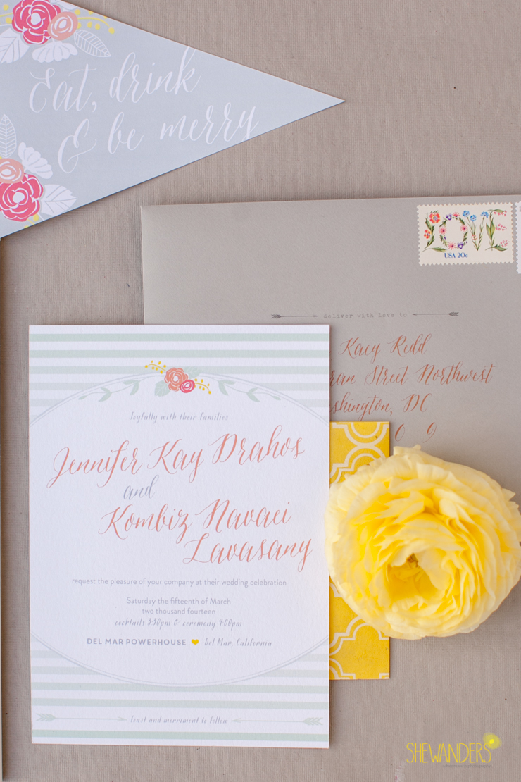 paper, invitations, invite, flowers,del mar wedding photography, shewanders wedding photography, root 75, luxe events, miho gastropub,
