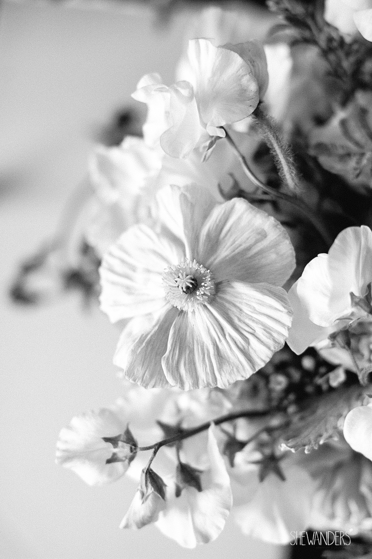 black and white, floral, flowers,del mar wedding photography, shewanders wedding photography, root 75, luxe events, miho gastropub,