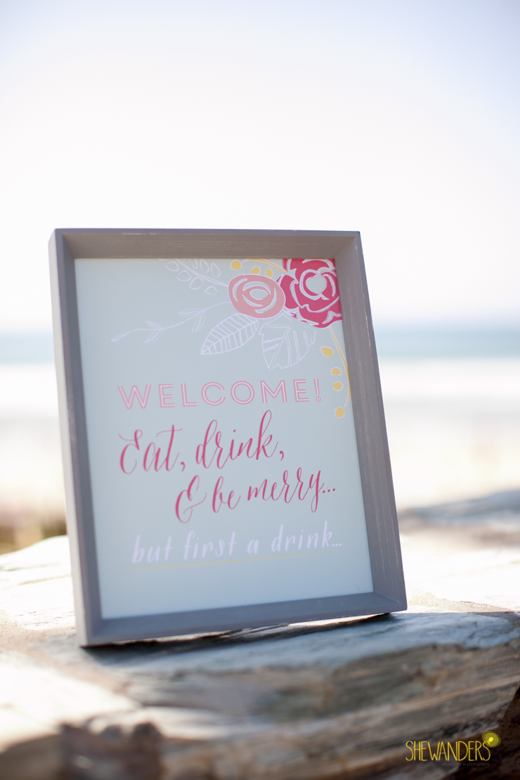welcome sign,del mar wedding photography, shewanders wedding photography, root 75, luxe events, miho gastropub,
