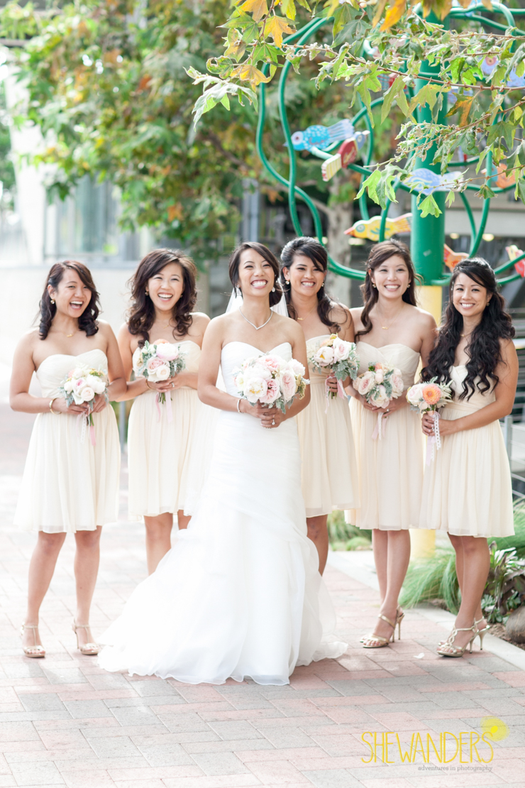 bridesmaids in white, san diego new childrens museum, shewanders photography, luxe events, root 75