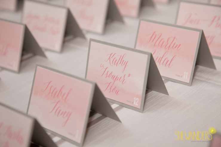 watercolor escort cards, brightly designed, san diego new childrens museum, shewanders photography, luxe events, root 75