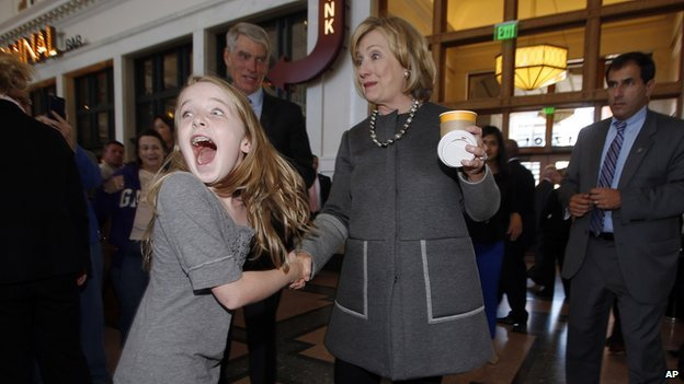 Girl meets Hillary Clinton, freaks out