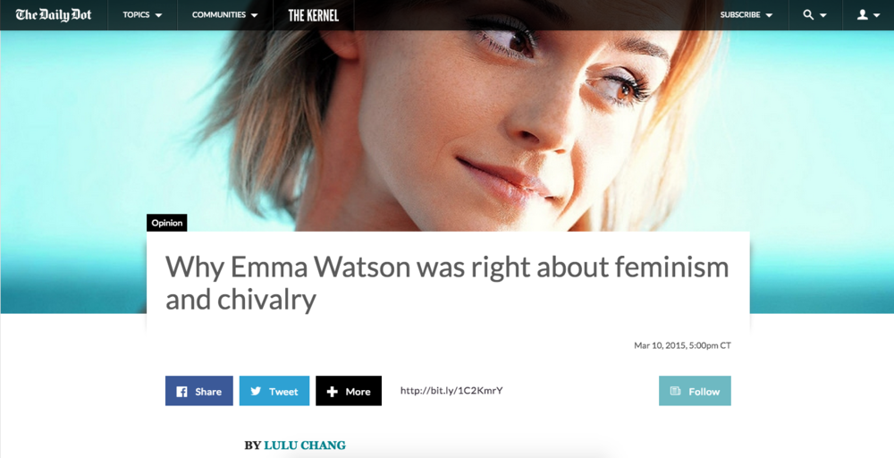 Why Emma Watson was right about feminism and chivalry
