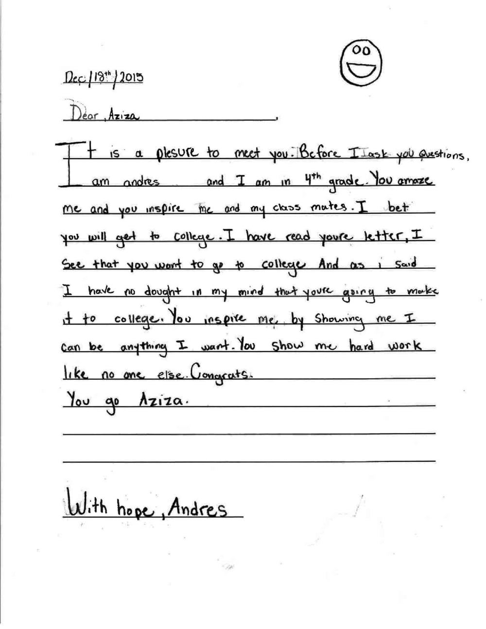 Handwriting child. Like a chicken paw