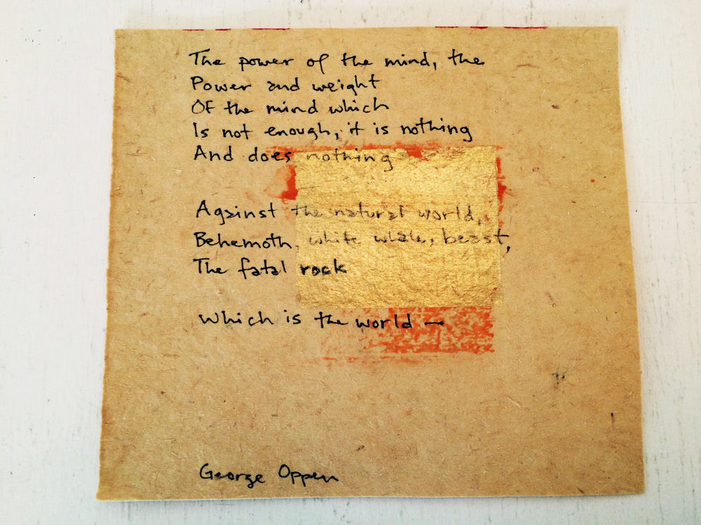 The paper is from Chinatown, and the quote is from poet George Oppen