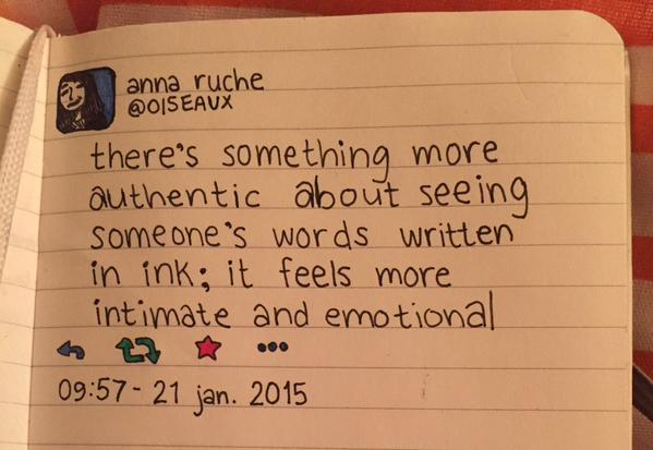 Image from the online gallery for Moleskine's handwritten tweets.